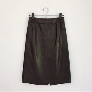 Max Mara Genuine Leather Dark Brown Leather Skirt